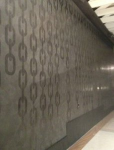 Venetian Plaster with a waxed stencil